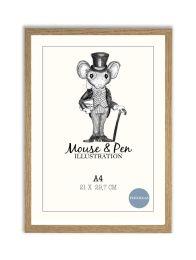Mouse & Pen ramme - A4 eg m/plexiglas