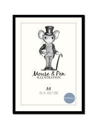 Mouse & Pen ramme - A4 sort m/plexiglas