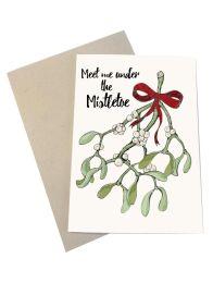 Mouse & Pen ´Meet me under the mistletoe` - A6 kort