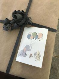 Mouse & Pen ´Elephant balloon` - A7 kort