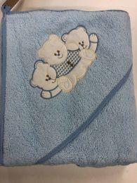 Nørgaard Madsen badeslag 75x75 cm - Blå med sovende bamse