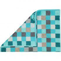 Cawö  ´Unique´ håndklæde med tern 50x100 cm - Turkis
