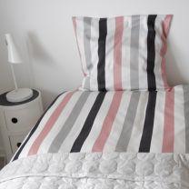 BySkagen  ´Cecilie´  sengetøj 200x220 cm - Rosa/grå striber