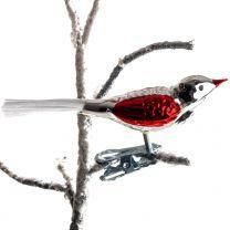 Brink Nordic Fugl 10 cm - Sølv/Rød