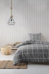 BySkagen  ´Gitte´ bambus/bomuldssatin sengetøj 2 sæt i pose140x200 cm - Grå tern
