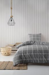 BySkagen  ´Gitte´ bambus/bomuldssatin sengetøj 2 sæt i pose140x220 cm - Grå tern