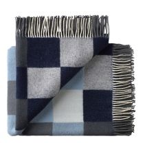 Silkeborg Uldspinderi ´Plain beat´ uld plaid 130x190 cm - Muted blues