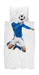 SNURK ´Fodboldspiller´ sengetøj 140x200 cm - Blå