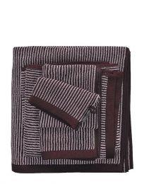 MARC O`POLO ´Timeless tone stripe´ håndklæde  50x100 cm - Aubergine/Lys lavendel